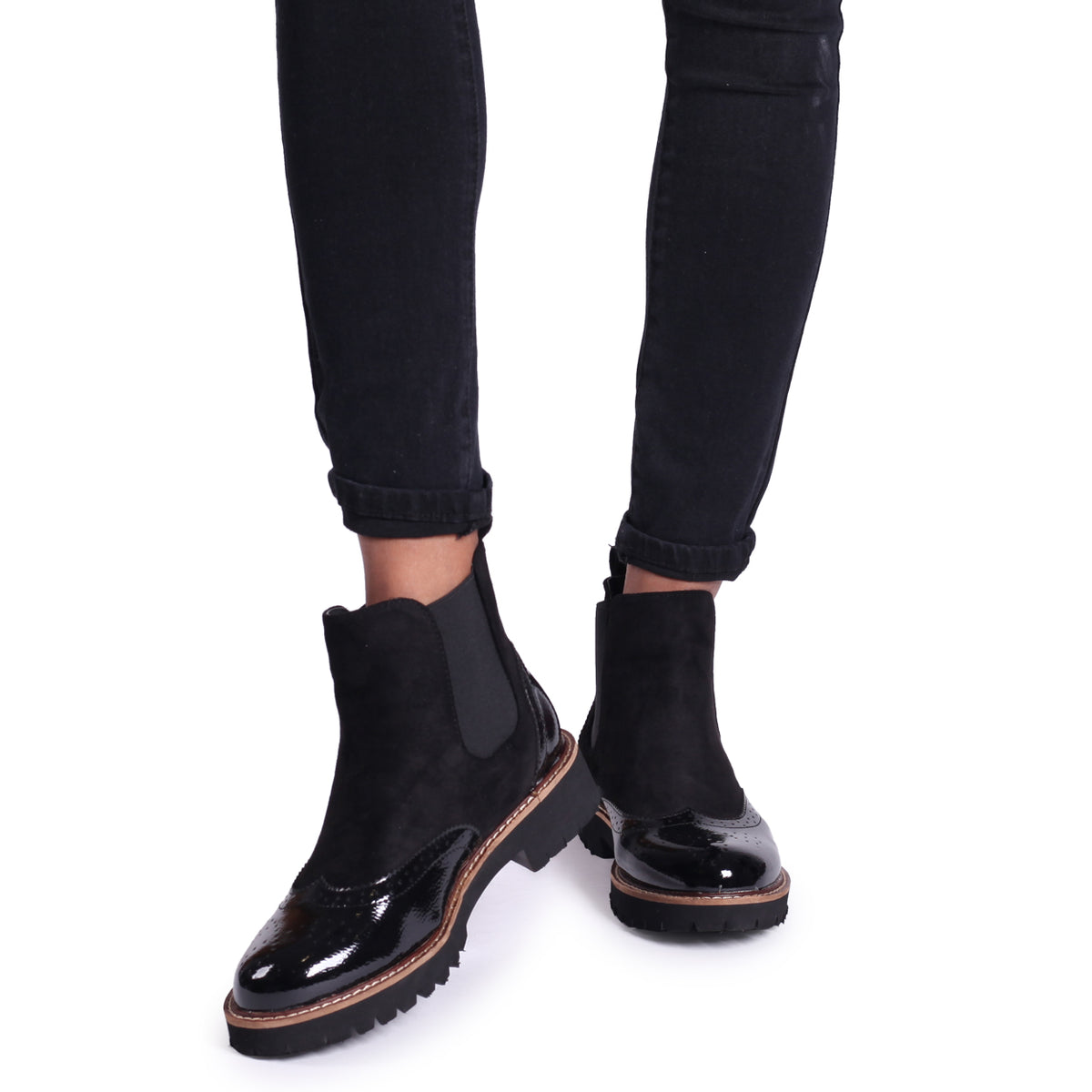 CLEO Black Patent /& Suede Brogue Style Chelsea Boot