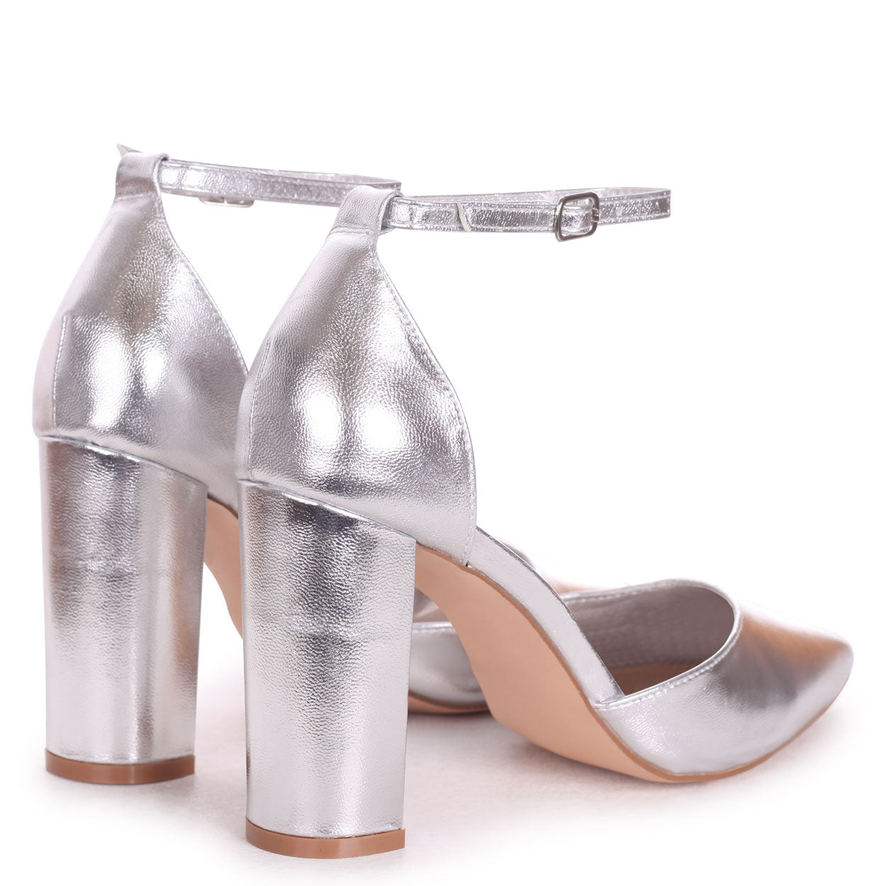 Silver Metallic Court Shoe With Ankle