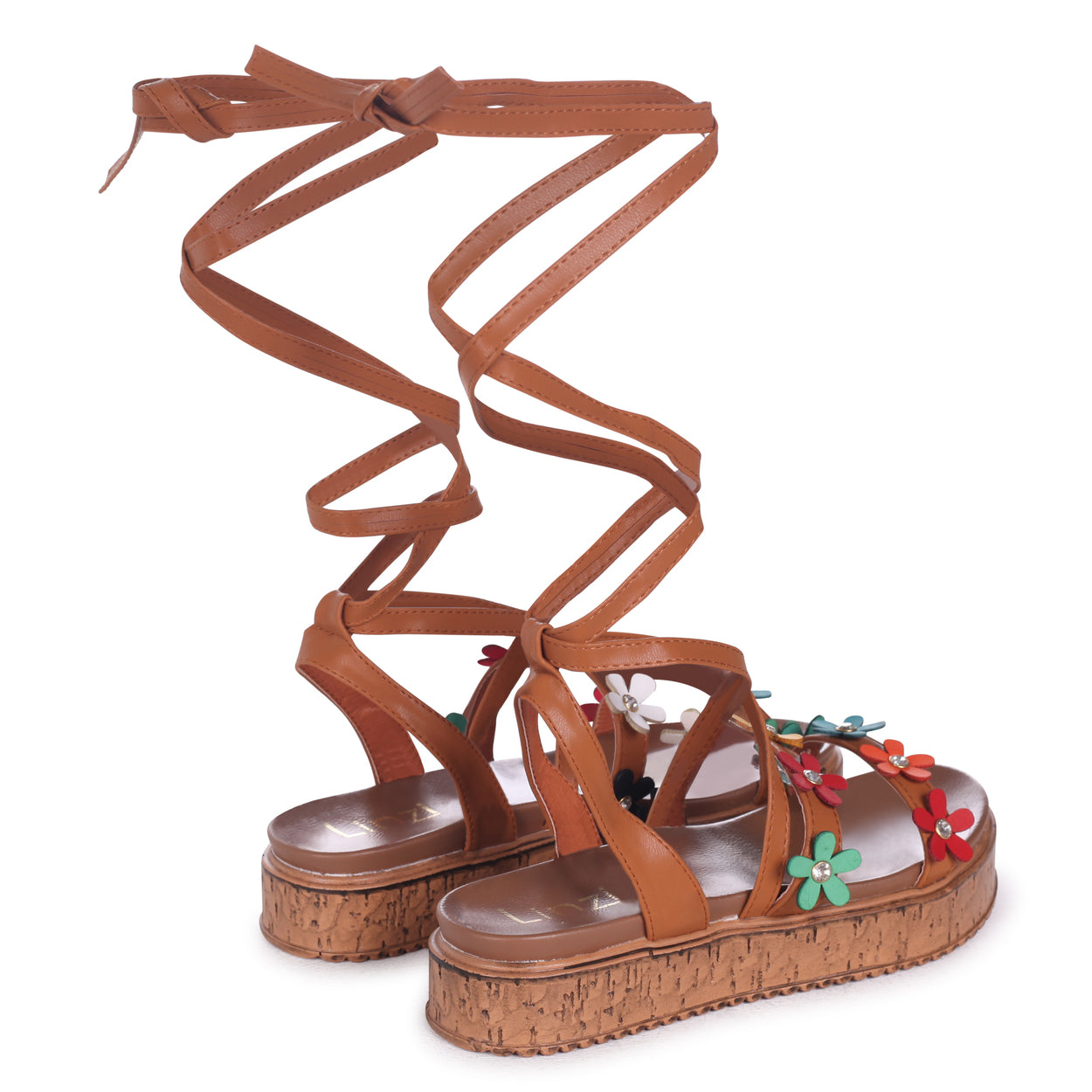 bad89ef30506a Tan Nappa Tie Up Flatform with All Over Floral Detail – Linzi