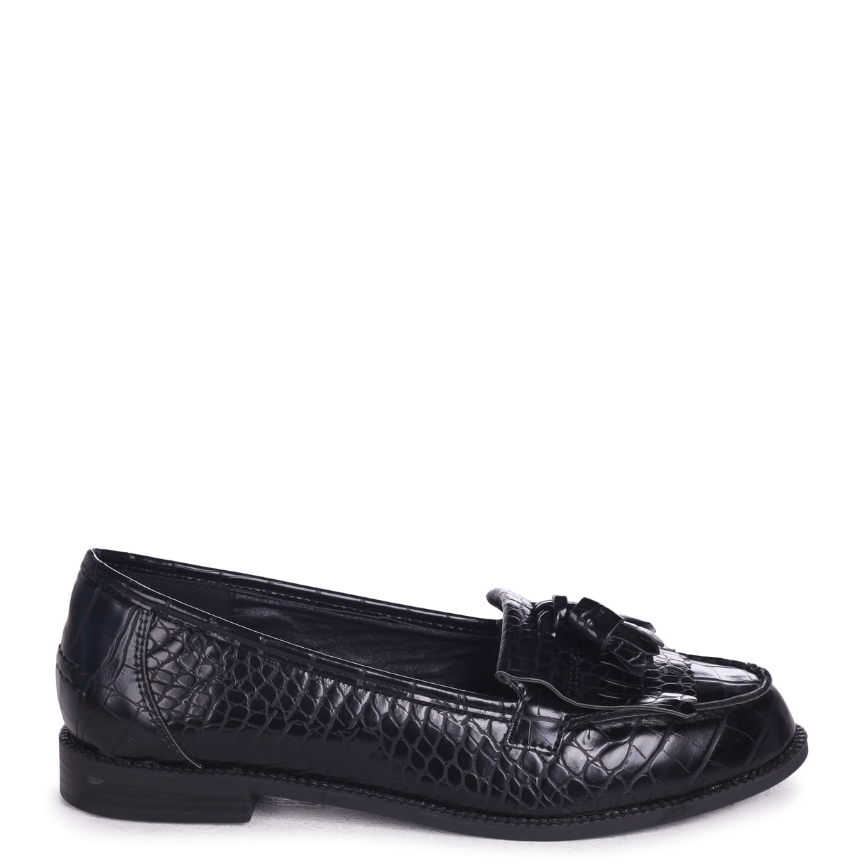 86c21495df4 Black Croc Faux Leather Classic Slip On Loafer – Linzi