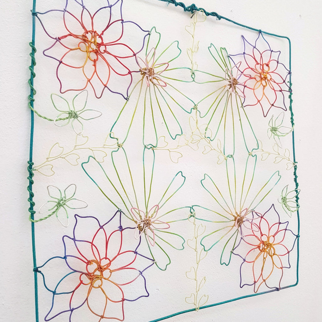 Dyed wire - quad bloom wall piece SOLD