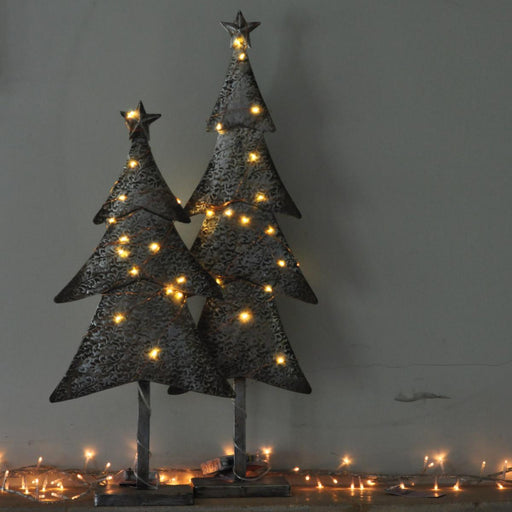 Silver Light up Metal Christmas Tree - 2 Sizes