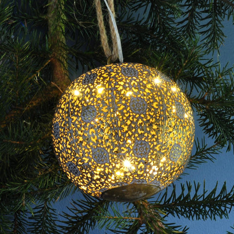Light up Metal Bauble - Moroccan Style Antique Gold