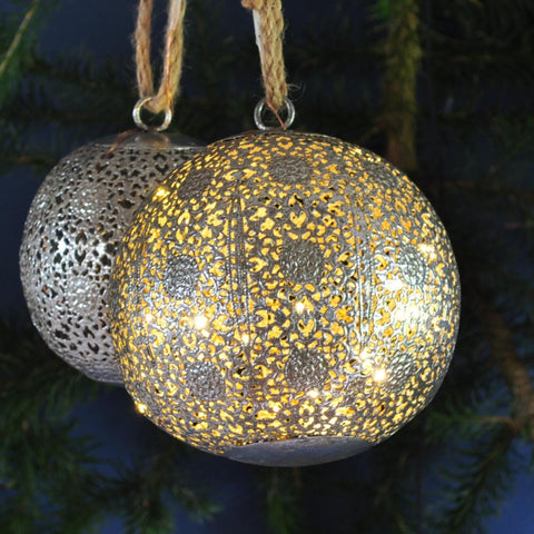 Light up Metal Bauble - Moroccan Style Antique Silver