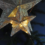 Light up Star Bauble Small - Moroccan Style Antique Silver