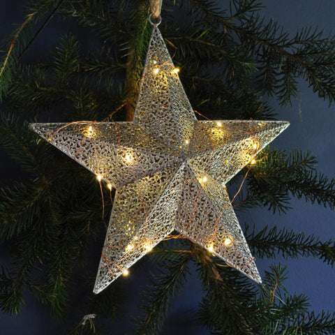 Light up Star Bauble Large - Moroccan Style Antique Silver
