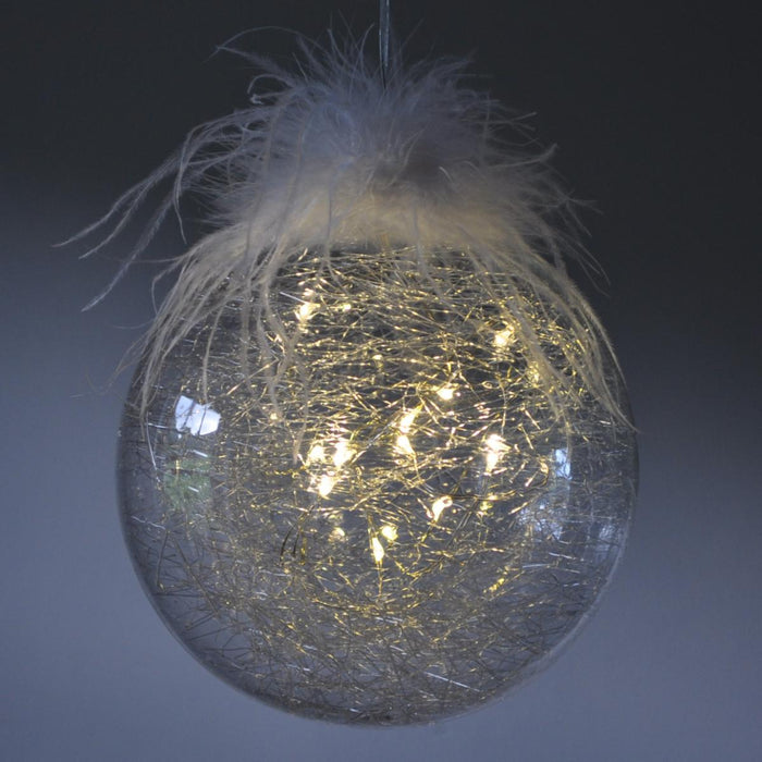 Light Up Candyfloss Glass Bauble - 3 Sizes