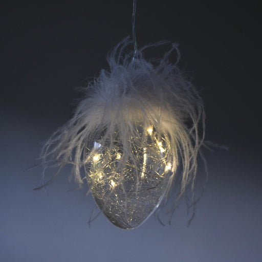Light Up Candyfloss Glass Egg Bauble - 2 Sizes