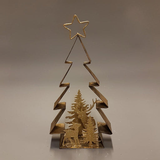 Winter Scene Gold Metal Metal Christmas Tree