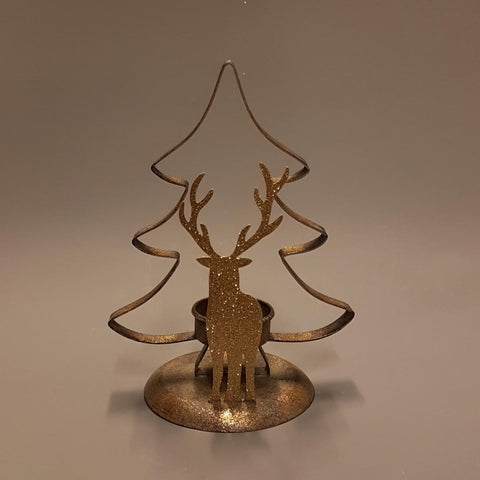 Gold Tree With Stag Winter Scene Tea Light Holder