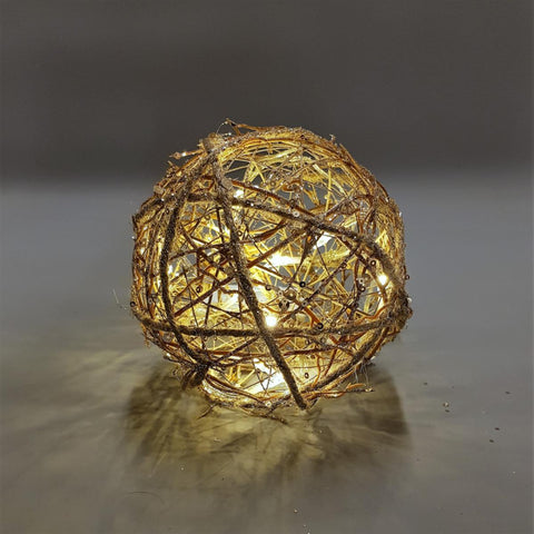 Champagne Gold Light Up Rattan Sphere - 3 Sizes
