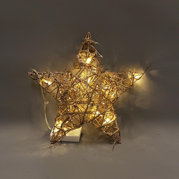 Champagne Gold Light Up Rattan Star - 2 Sizes