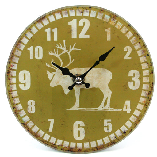 Glass Stag Clock - 15cm