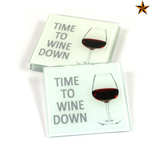Wine Coasters - Time to Wine Down - Set of 4