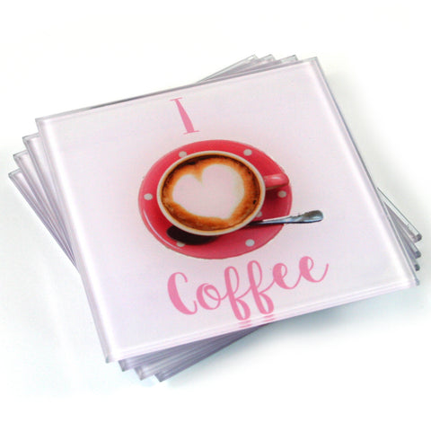 Coffee Coasters - I Love Coffee - Set of 4