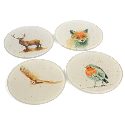 British Wildlife Coasters - Glass Set of 4