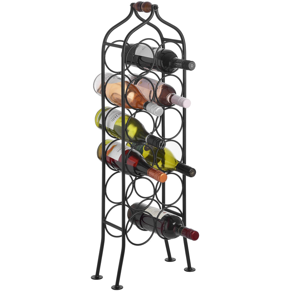 Wine Rack - 12 Bottle Freestanding Wrought Iron