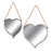 Pair of Rope Hanging Silver Heart Mirrors