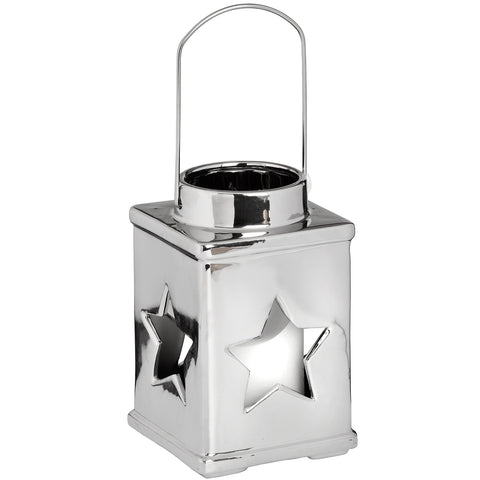 Silver Ceramic Star Lantern Candle Holder