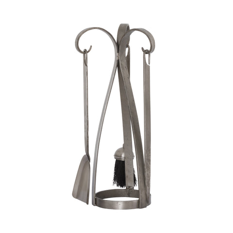 Contemporary Fireside Companion Set In Antique Pewter