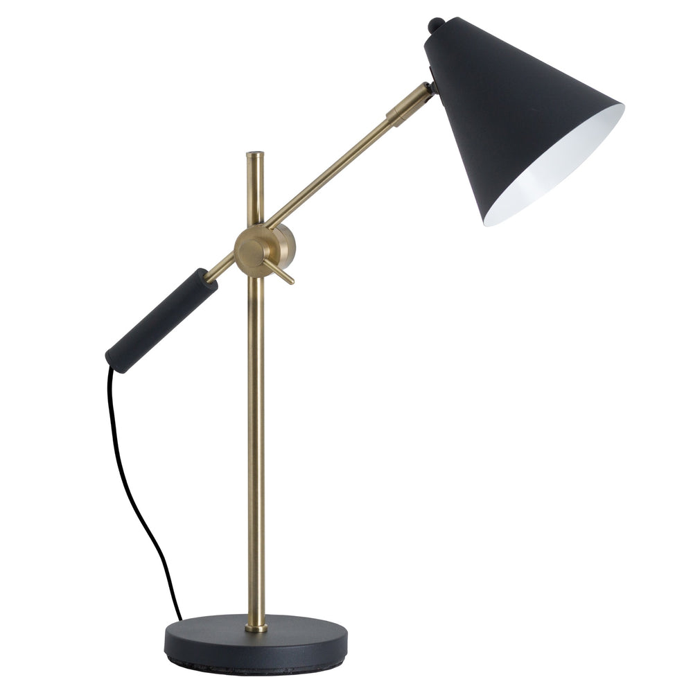 Desk Lamp - Black and Brass Angle Lamp DS