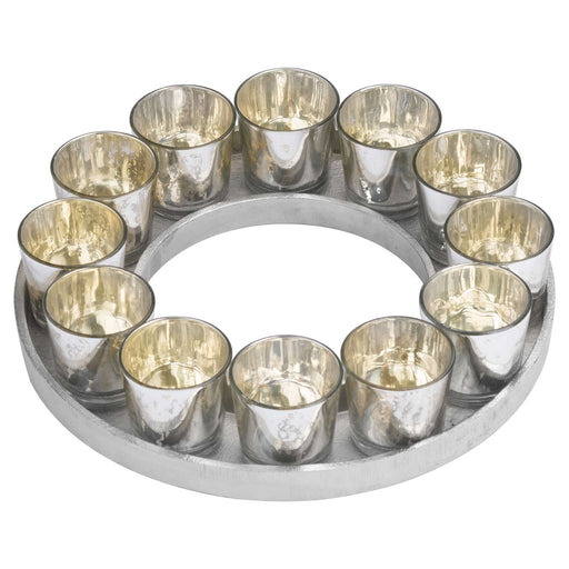 Circular Cast Aluminium Tray With 12 Silver Glass Votives DS