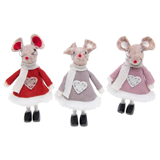 Christmas Mice, Set of 3 Festive Standing Mice