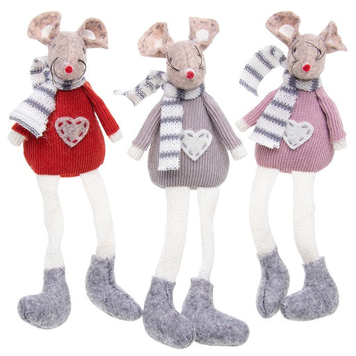 Christmas Mice, Set of 3 Festive Shelf Sitting Mice