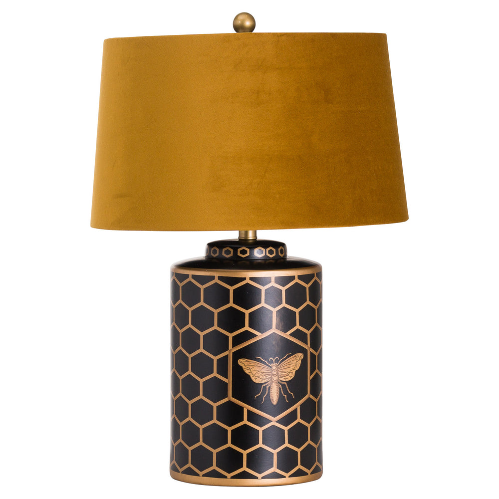 Harlow Bee Table Lamp With Velvet Mustard Shade - DS