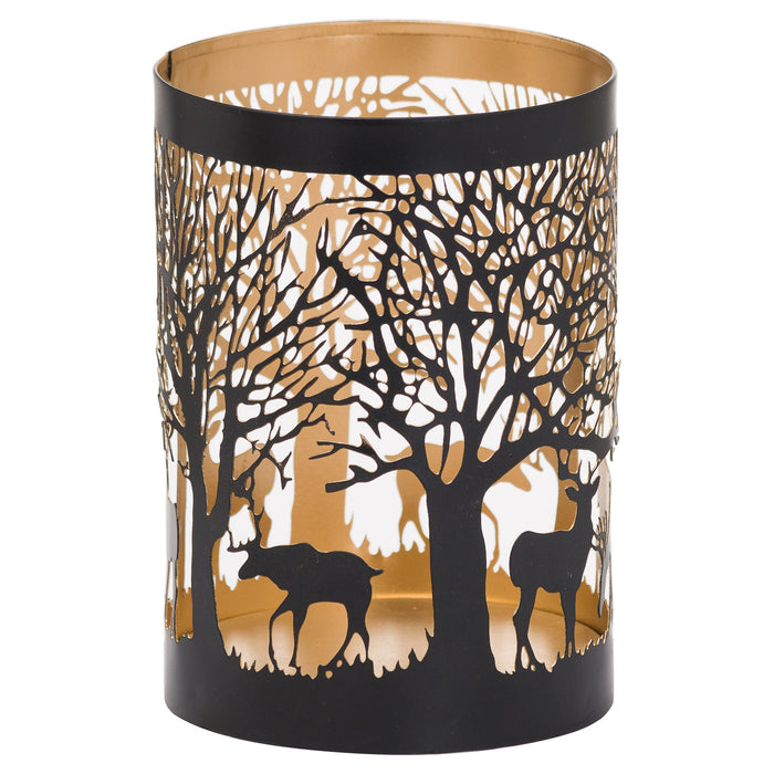 Christmas Stag in Forest Black Lantern - 3 Sizes