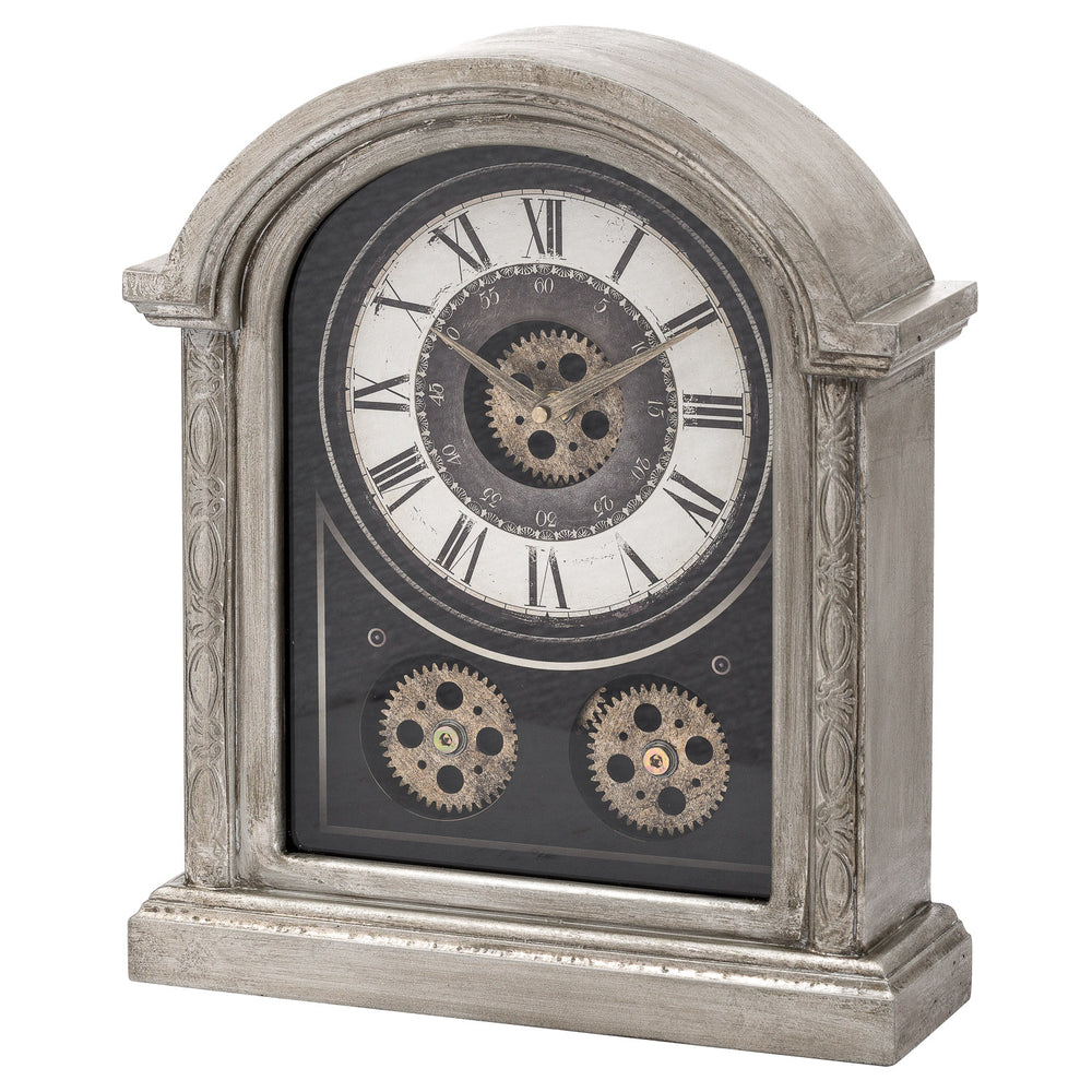 Antique Silver Mechanism Mantle Clock DS