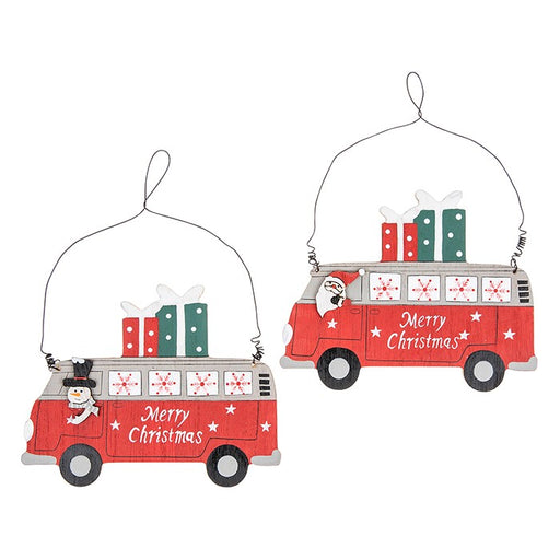 Christmas Campervan Pair - Santa and Snowman Hanging Decorations