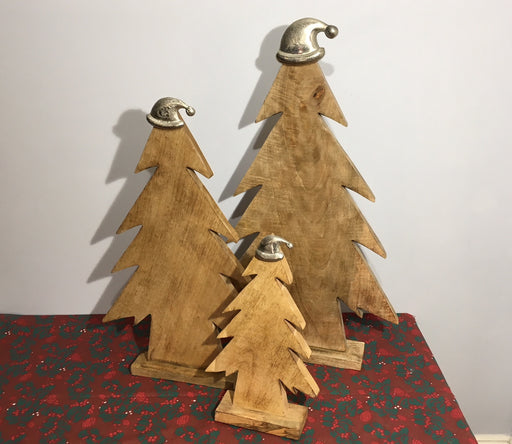 Wooden Christmas Trees with Silver Santa Hats