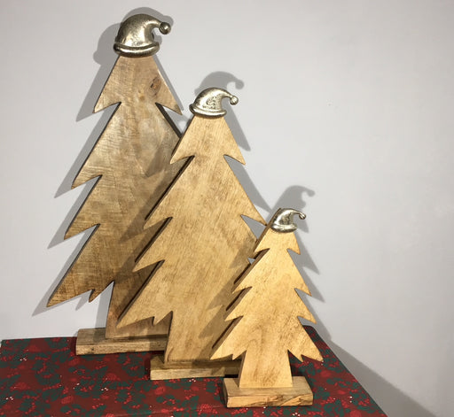 Wooden Christmas Tree Ornaments with Silver Santa Hats - 3 sizes available