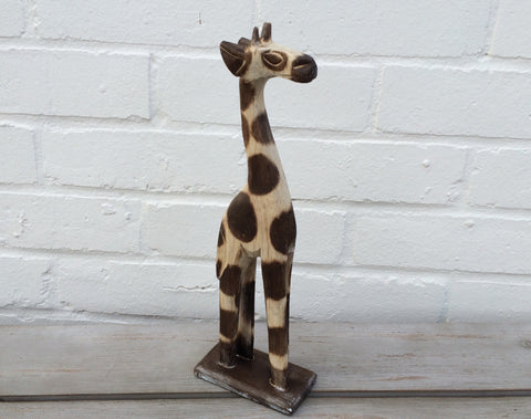 Hand Carved Wooden Giraffe - 30cm