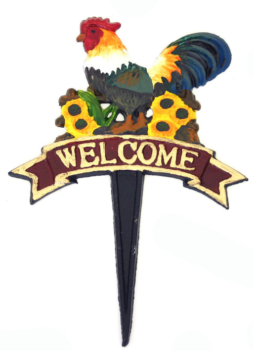 Colourful Rooster Welcome Sign - Garden Stake