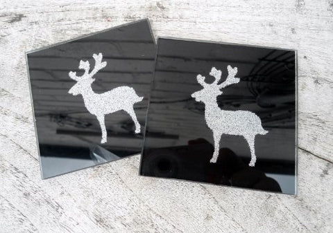 Glitter Christmas Coasters - Black Glass with Silver Reindeer Set of 2