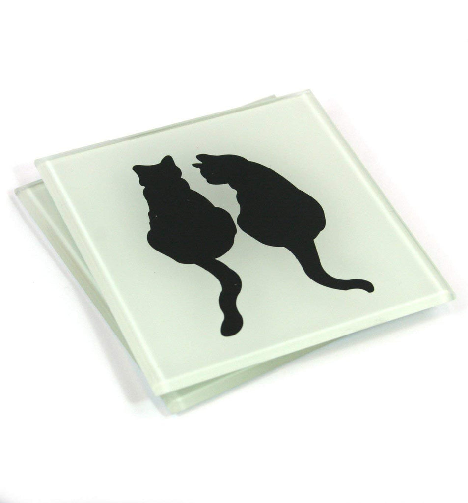 Black Cat Pair Coasters - Set of 4 - Cats Together