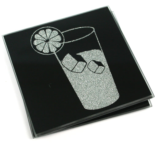 Glitter Coasters - Black Glass with Silver Gin & Tonic - Set of 2