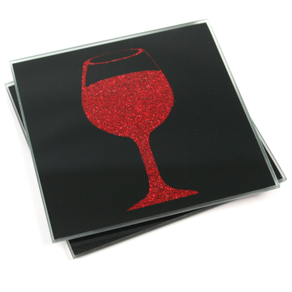 Glitter Coasters - Black Glass with Red Wine Glass - Set of 2