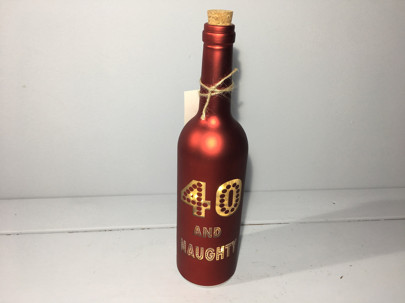 Light Up Wine Bottle Bronze - 40 and Naughty