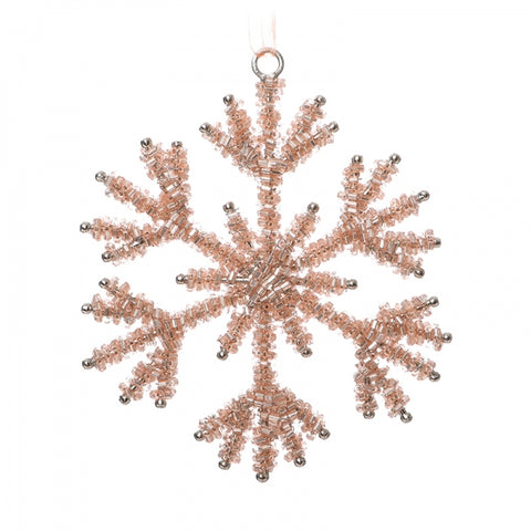 Rose Gold Beaded Hanging Snowflake - Pink Christmas