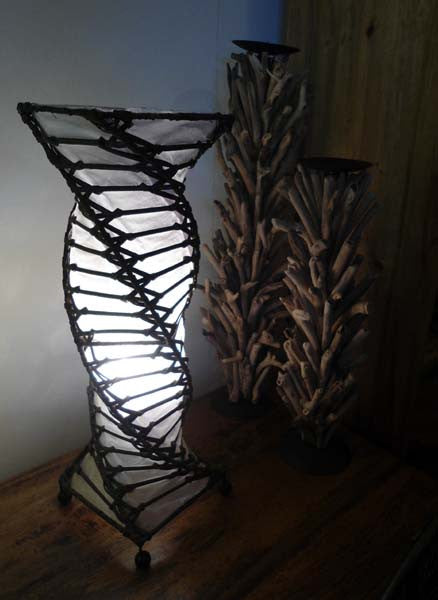Twist Lamp - 50cm White Rattan Table Lamp