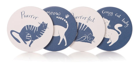 Cat Coasters - Set Of Four - Crazy Cat Lady!