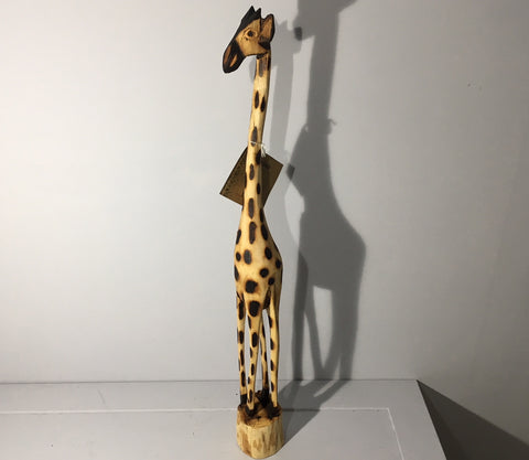 Hand Carved Wooden Giraffe - 65cm Tall