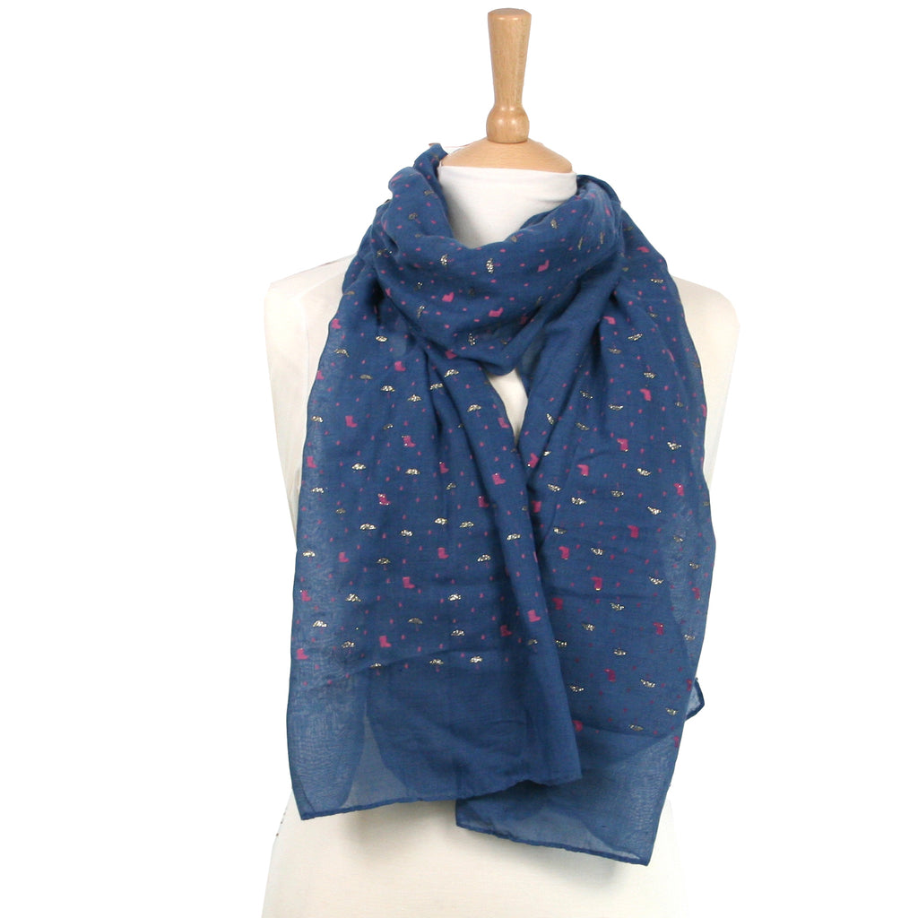 Raining Scarf - Navy Blue