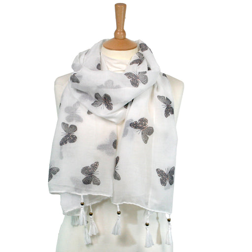 Butterfly Tassel Scarf - Grey butterflies on an ivory background with Glitter Detail
