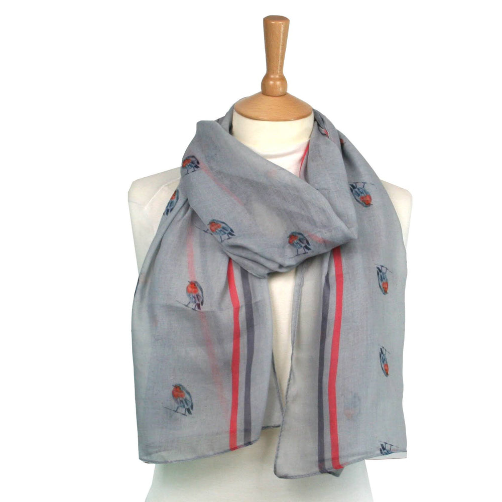 Small Robin Scarf - Designed by British Artist Kat Jackson, Supporting Animal Charities