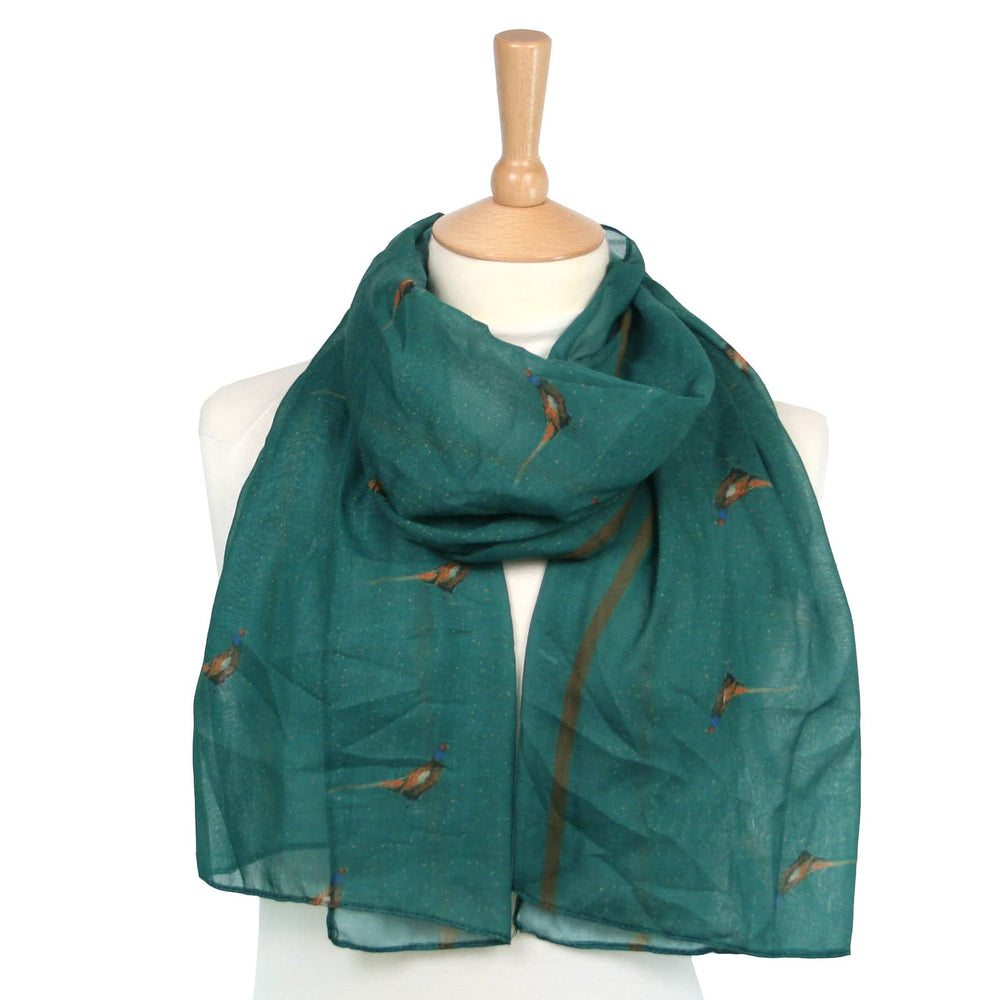 Pheasant Scarf -Designed by British Artist Kat Jackson, Supporting Animal Charities