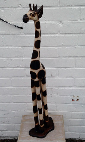 Hand Carved Wooden Giraffe - 80cm